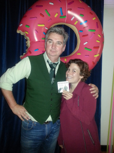 Showing off a coaster with Damian Callinan after the show!