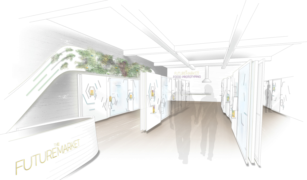 Concept rendering of the Future Market physical pop-up store, coming soon.
