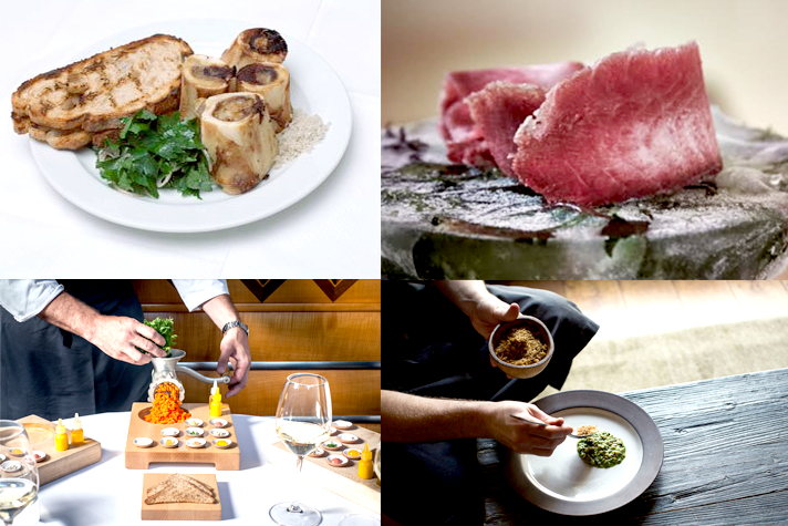Dishes that promote more sustainable food systems: (clockwise from upper left) Bone marrow & parsley salad, St. John; beet infused asian carp, Miya's; carrot tartare, Eleven Madison Park; rotation risotto, Blue Hill.