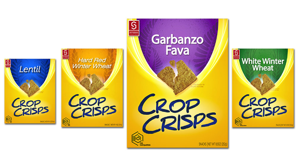 Crop Crisps: a Future Market concept product. Each cracker flavor is based on a different crop from the same four-crop rotational planting.