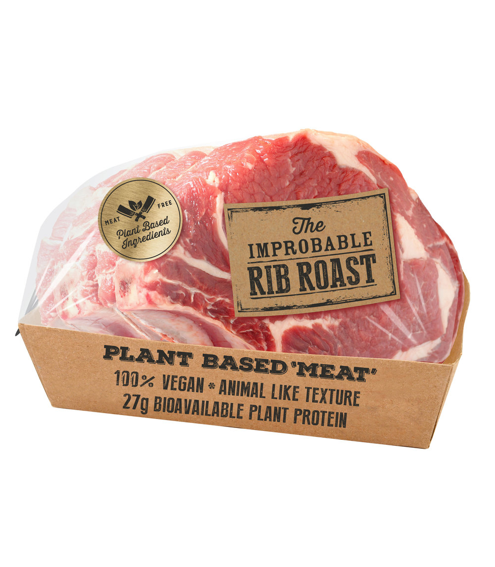 "The Improbable Rib Roast    The Improbable Rib Roast looks, cooks, and tastes like beef, any way you slice it. We've perfected the texture of this plant-based ""meat"" to bring you an entree that's worthy of any occasion."