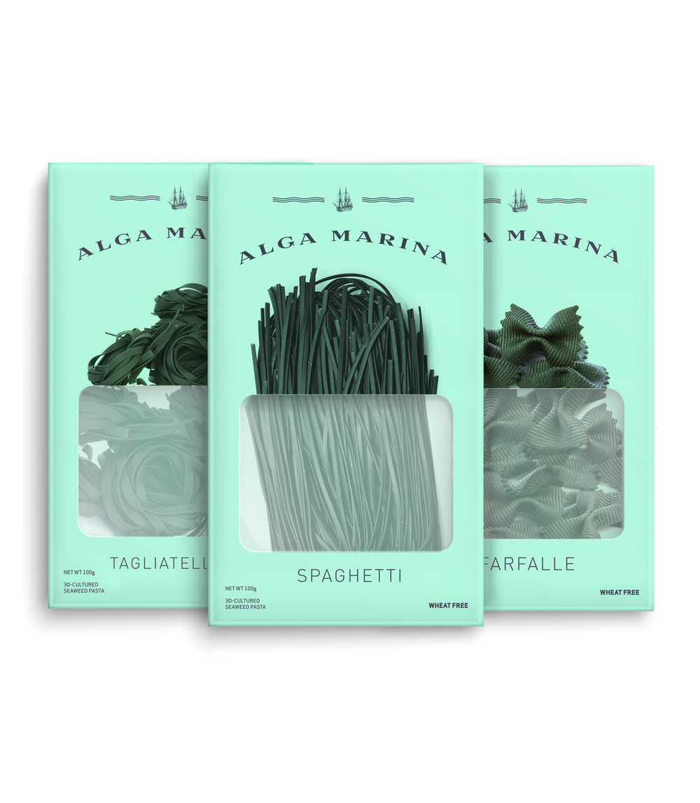 Alga Marina    Alga Marina is seaweed pasta at its finest -- and it's good for our planet, too. We take holistically farmed seaweed and transform it into the traditional pasta shapes your family knows and loves. Our pasta's firm, snappy texture is what sets it apart from conventional wheat-based pasta, and its mild, sea-kissed taste offers a blank canvas for any sauce or flavor.