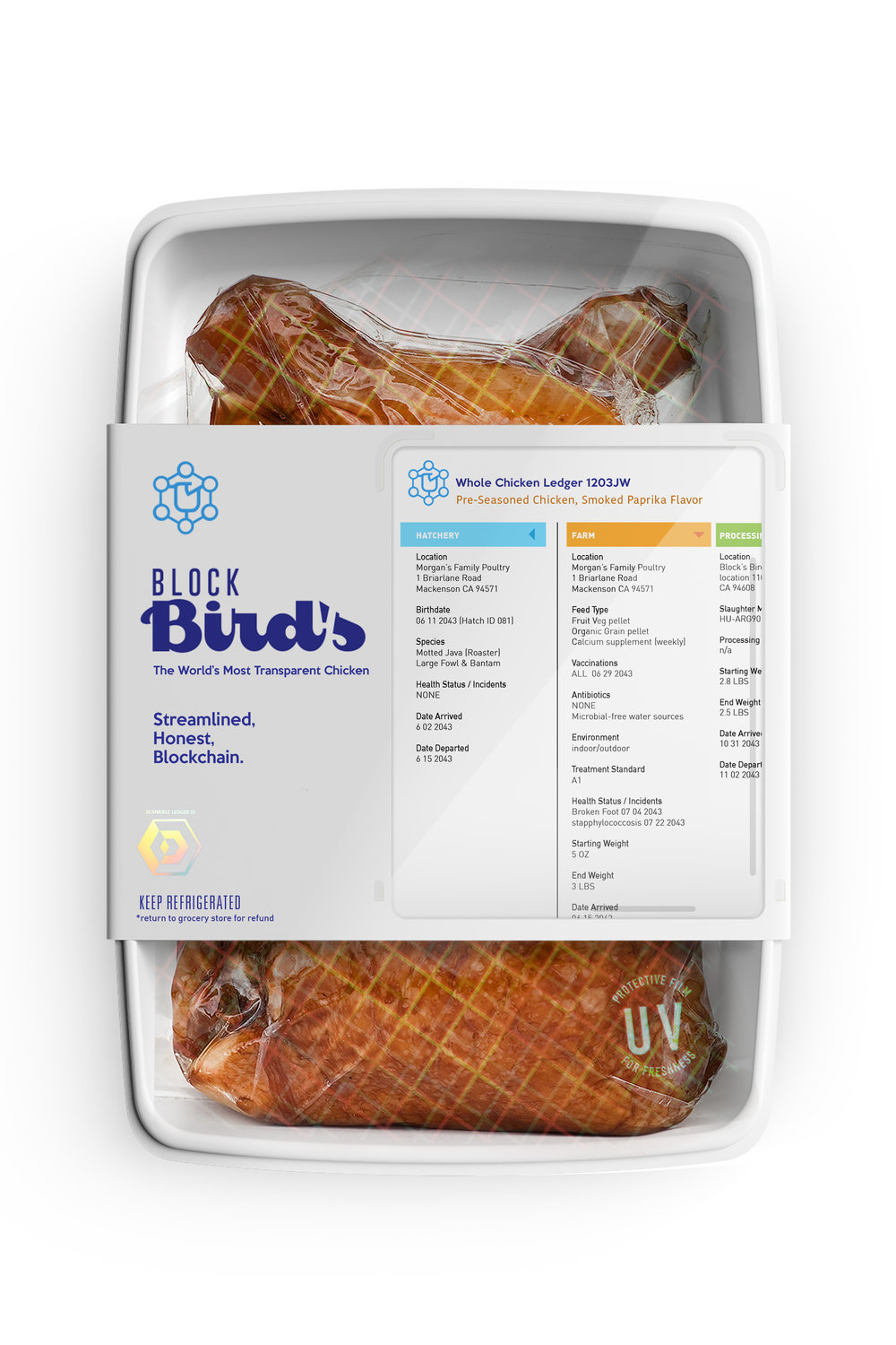 Block Bird's    Block Bird's is the first, fully transparent supply chain line of chicken products verified by Blockchain technology. All chicken is sourced from a multitude of small farms in the American midwest, where the entire journey of the chicken, from egg to grocery store, is recorded and plainly visible on the front of the package.