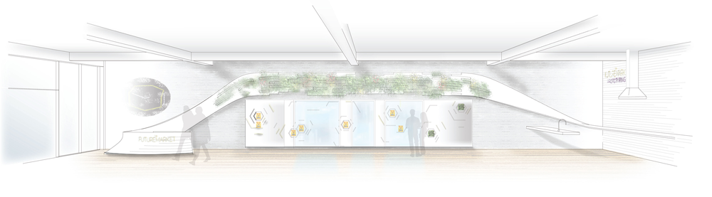 Future Market pop-up store concept rendering.