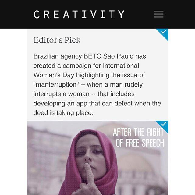 """Bom Dia! Estamos hoje no Creativity, um dos principais portais de criatividade, hospedado no Advertising Age! Inclusive, há destaque na Home como """"Editor's Pick""""! Show @betcsaopaulo!"""