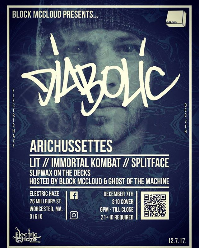 Tomorrow night, Me and the homie @diabolichiphop are rocking live at Electric Haze in Worcester, MA. #blockmccloud #ElectricHaze #diabolic #aotp