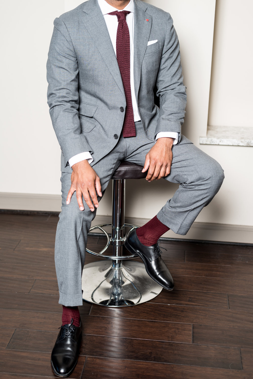 Suit, tie, shirt and socks by Sid Mashburn
