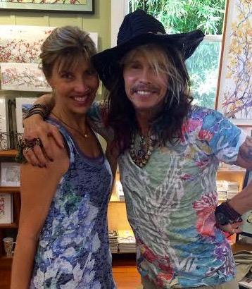 Steven Tyler Rocks Sherri's Sage mauka mala 3/4 sleeve shirt. 2016