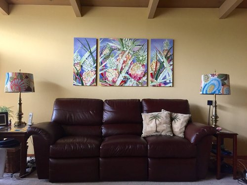 Pina Colada Triptych on Metal