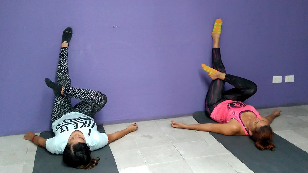 Legs up the wall variation