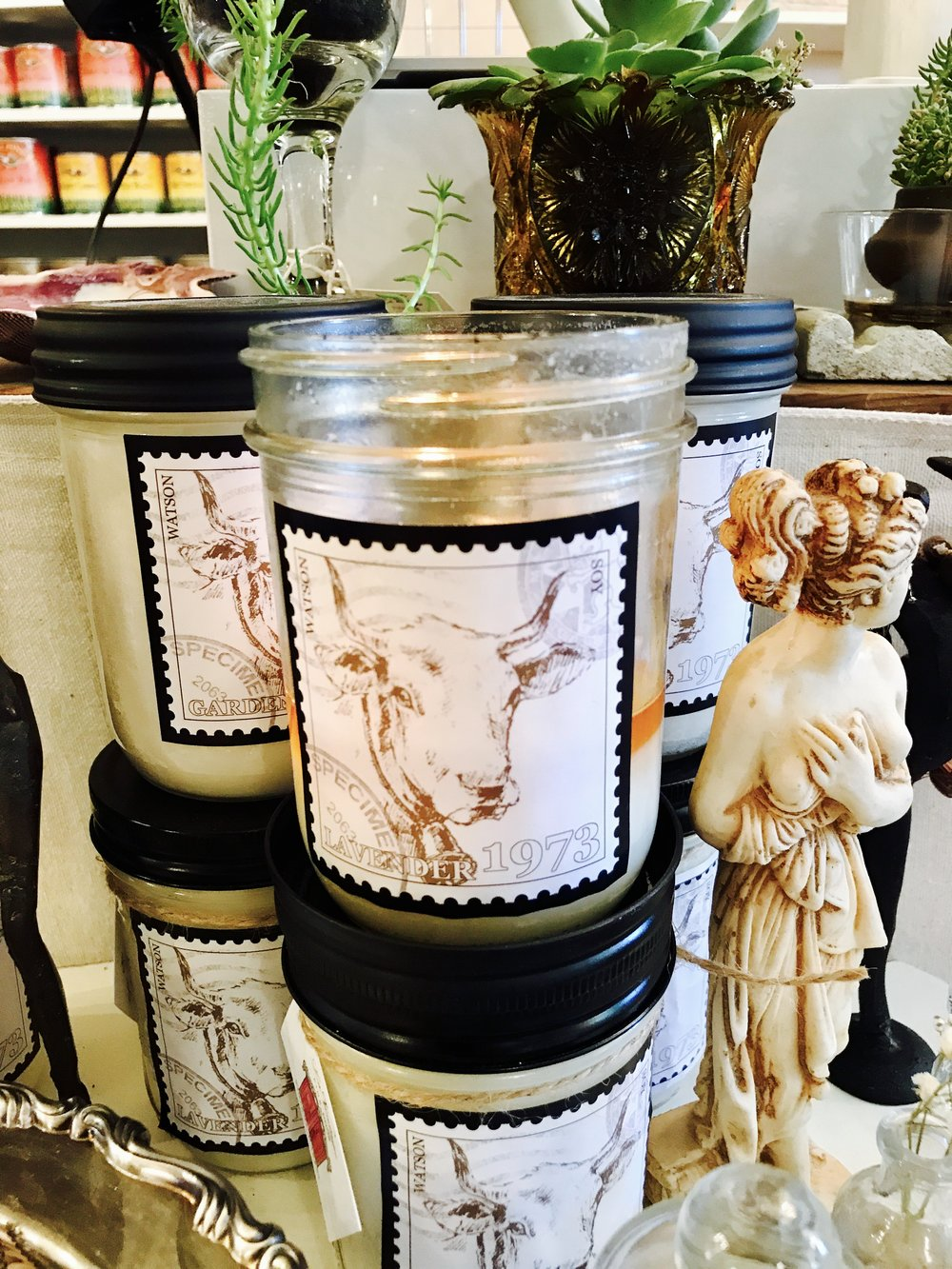 Watson Candles each $13.50 or two for $25. - Lavender, Sage, Whisky, Rosemary, Gardenia Coming soon NEW scents:Pumpkin Pie, Christmas Tree, Coffee with Gingerbread