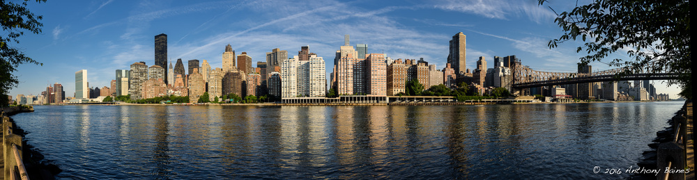 The Eastside of Manhattan viewed from Roosevelt Island. 17 hand-held overlapping portrait format images (16-bit TIFFs exported from Lightroom) stitched in PTGui. Nikon D810, with 24-120mm f/4 AF-S lens set to 38mm. Click on the image to see it bigger.