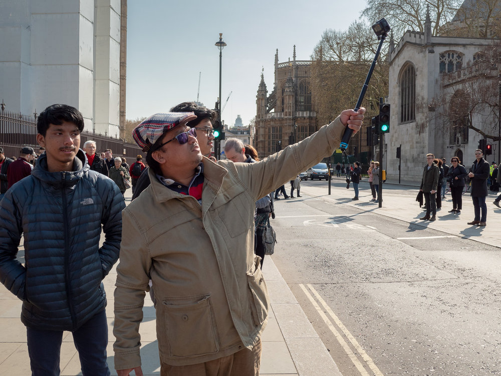 Tourists from all over the world still come to see the sights of Westminster: the protestors now form part of their holiday selfies.