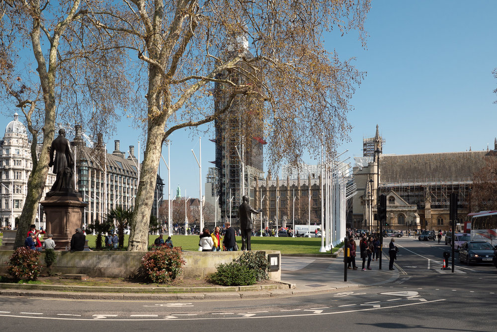 Parliament Square on a glorious spring afternoon.