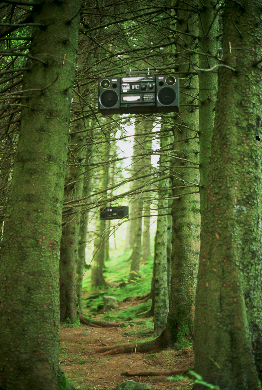 Ether installation in the Fløyen Forest, Bergen 1998. Photo: Sissel Lillebostad.