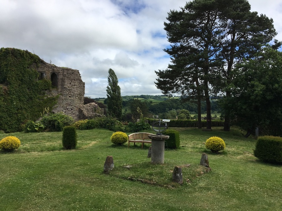 Usk Castle garden and view