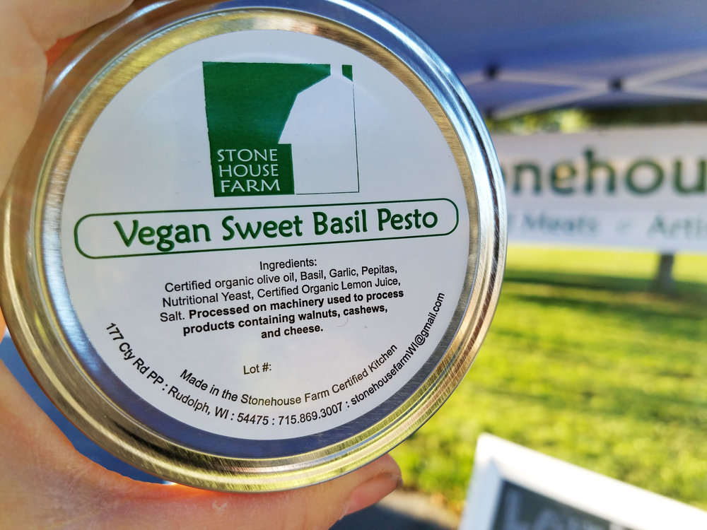 Vegan Sweet Basil Pesto : A dairy free - and nut free - version of our famous traditional basil pesto! Made with basil, certified organic olive oil, garlic, certified organic nutritional yeast, pepitas, certified organic lemon juice and a pinch of sea salt. This yummy blend has quickly become a crowd favorite - whether vegan or not!