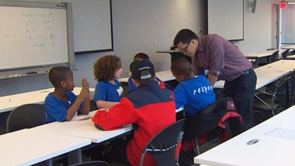 Students learn lessons in computer programming, math and science at Google through the Citizen Schools program. (WBZ-TV)