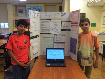 Winners of the Chicago Maker Challenge from Monroe Elementary, Christopher Martinez (left) and Emiliano Torres named their invention H2more.