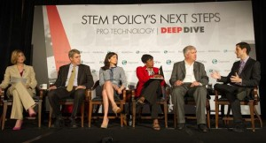 From left: POLITICO's Jessica Meyers, Co-Founder and CEO, Citizen Schools, Eric Schwarz, resident and CEO, National Alliance for Public Charter Schools Nina Rees, Secretary-Treasurer, National Education Association Becky Pringle, Deputy Director for Technology and Innovation for The White House Tom Kalil, and POLITICO's Tony Romm.