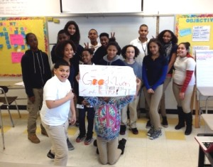 The team of Orchard Gardens K-8 School students wishing Petra good luck at the marathon.