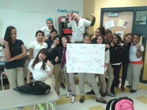 The team of Orchard Gardens K-8 School students wishing Meggie good luck at the marathon.