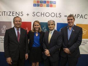 Left to right: Larry Summer, Citizen Schools' national Board Chair, Emily McCann, President of Citizen Schools, Steven Rothstein, appointed CEO of Citizen Schools, and Eric Schwarz, Co-Founder and CEO of Citizen Schools