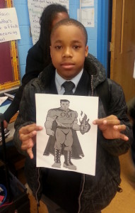 Eagle Academy student shows off his superhero.