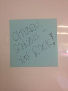 We found this note on the teacher board at Ronald McNair Middle School!