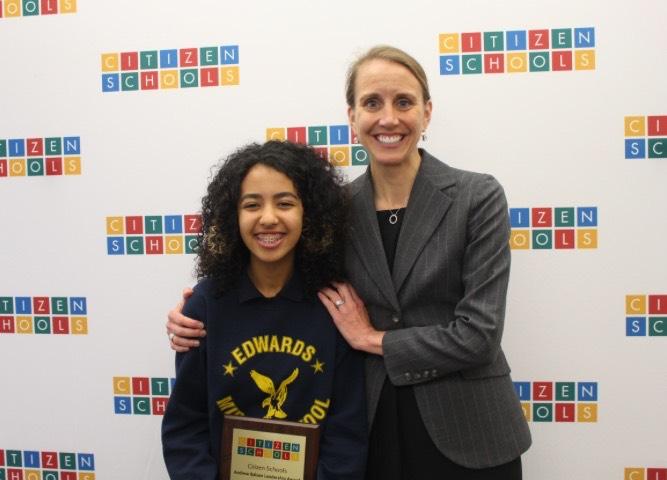 Hadear at Andrew Balson Leadership Award Ceremony with Emily McCann