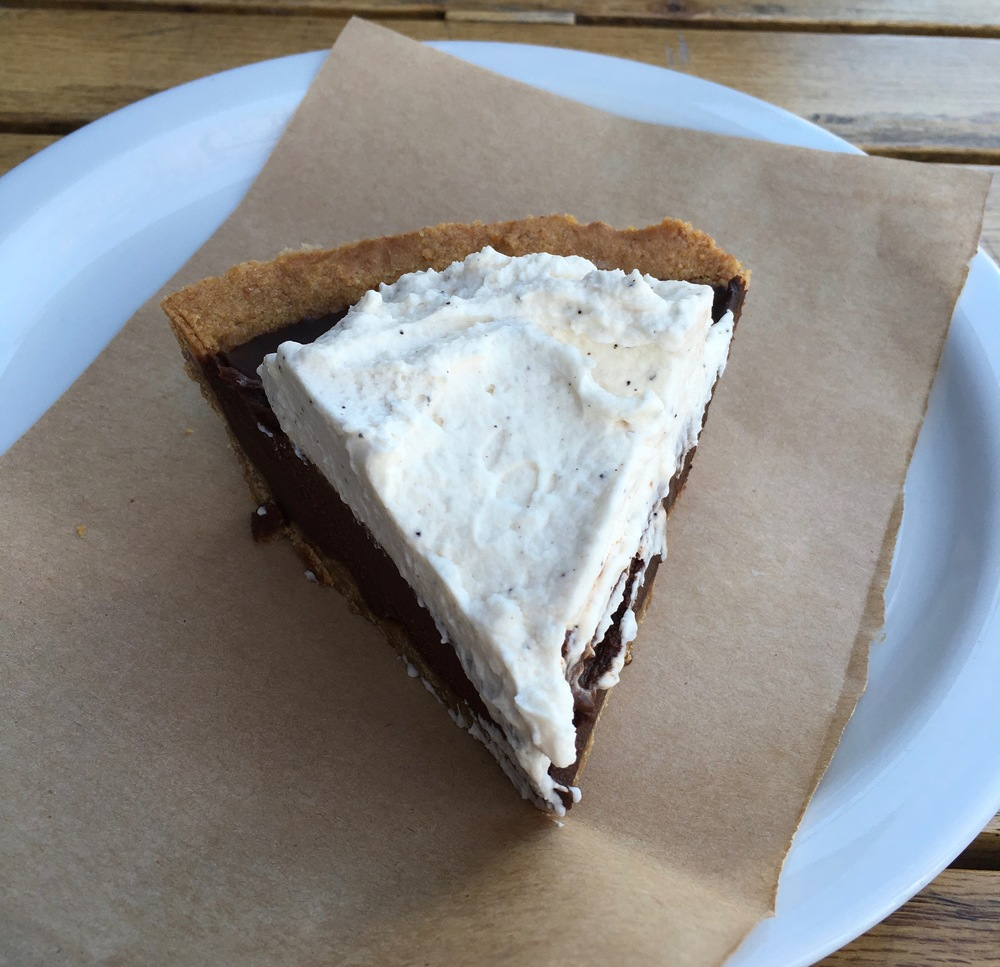 Ubiquitous butcher paper under Mexican chocolate pie.