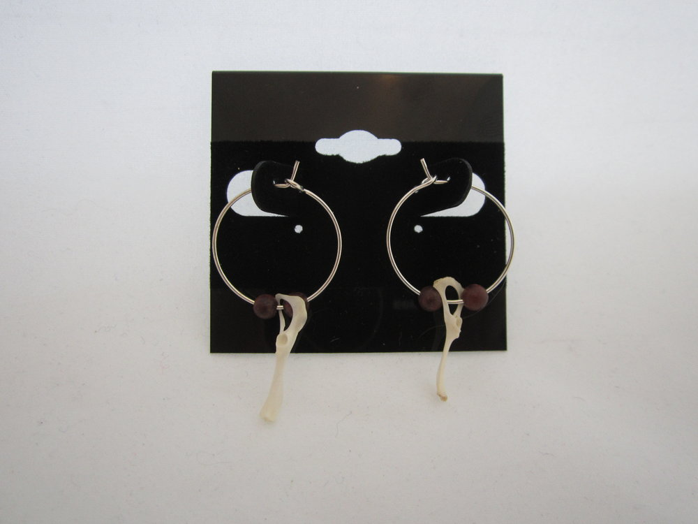 Rodent Bone Brown Beads Earrings 1.JPG