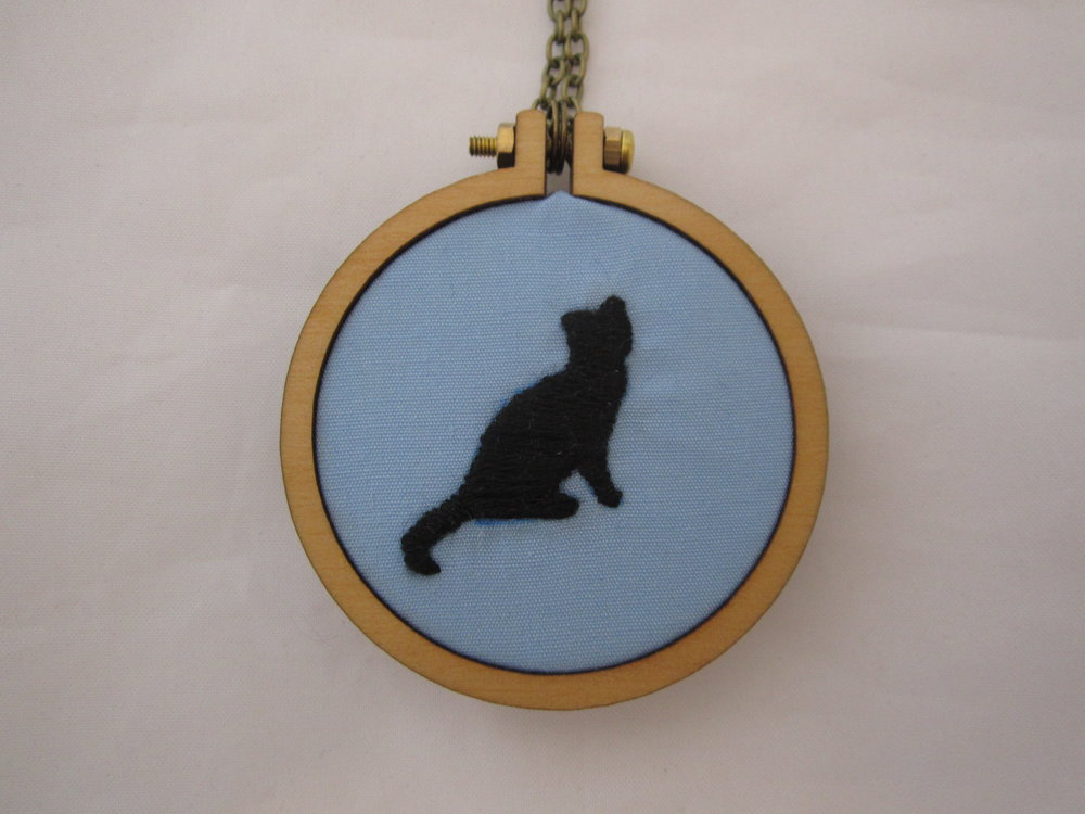 Blue Cat Silhouette Mini Hoop Necklace 3.JPG