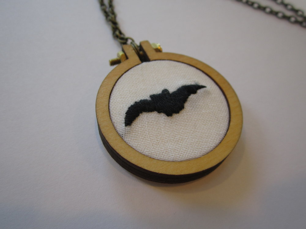 Flying Bat Mini Hoop Necklace 3.JPG