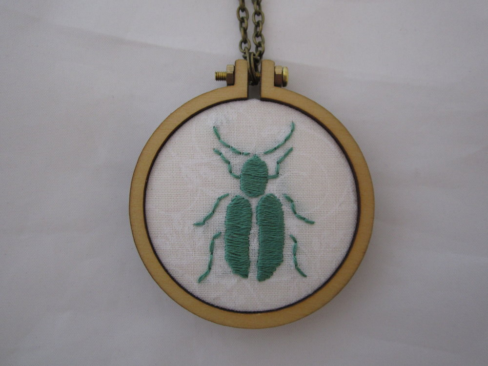 Green Beetle Mini Hoop Necklace 2.JPG