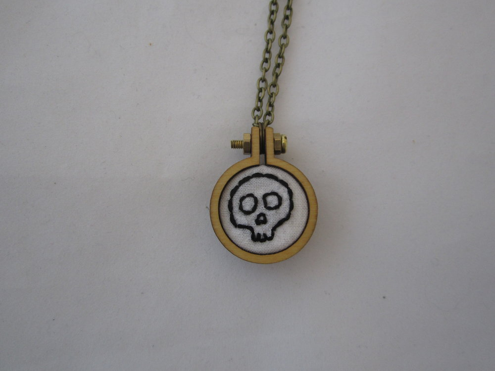 White Skull Mini Hoop Necklace 3.JPG