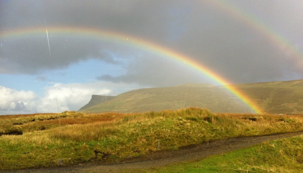 Guided Hiking on Benbulben - View of Benwiskin through the rainbow