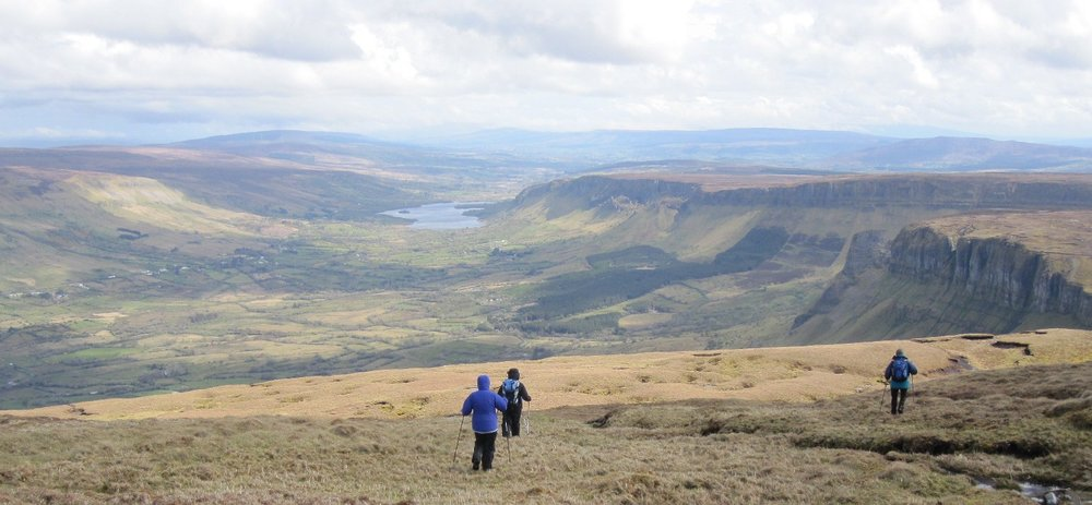 Hiking on Clontypruntish with stunning views of Glenade Lake and valley, Co Leitrim