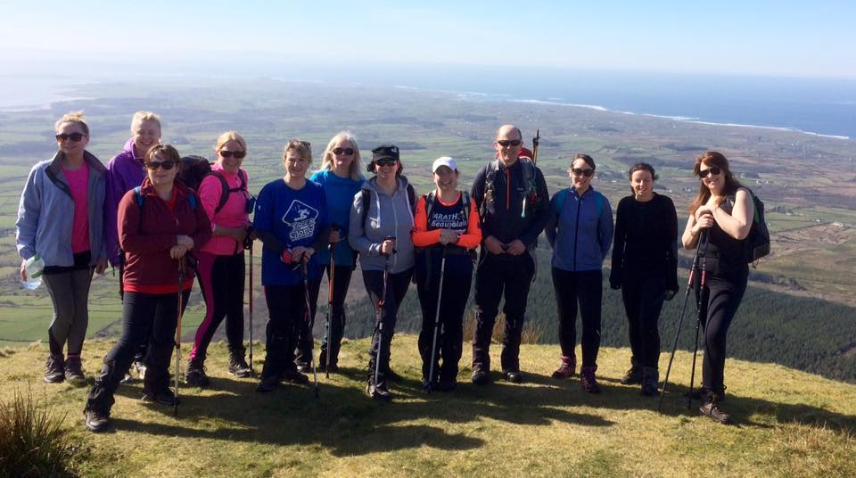 The happy hikers enjoying the March sunshine after climbing Benbulben today with High Hopes Hiking. Congratulations.