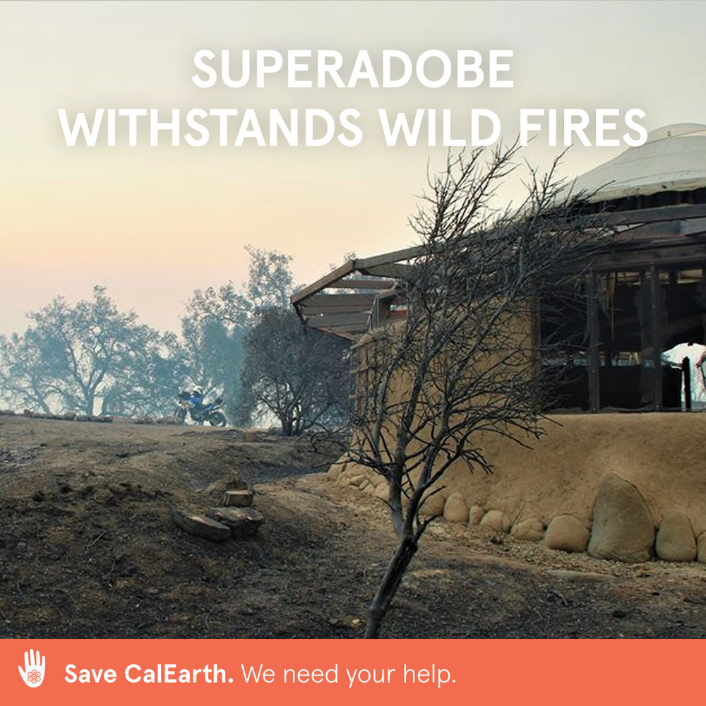 By supporting CalEarth, you are helping to address the housing shortages caused by climate change. this SuperAdobe structure withstood the 2017 wild fire in ojai, california.  calearth.org/donate   #calearth #savecalearth #superadobe