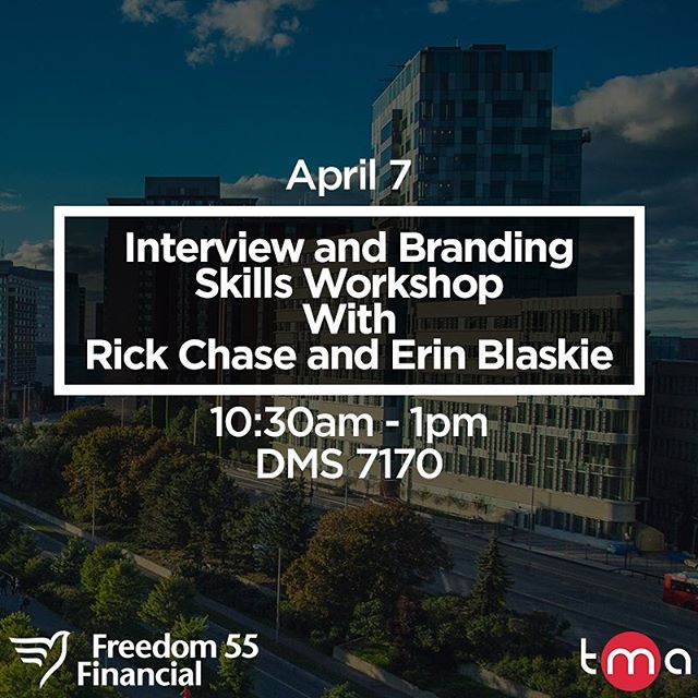 IYCMI: Join TMA on April 7th from 10:30am - 1:00pm in DMS7170 for a Special Presentation!  Rick Chase from @freedom_55_financial will share ideas about practical interview skills and some notes on a career with Freedom as well as, @ted Speaker, Erin Blaskie from @lsparkglobal discussing personal branding and her success story.  Lunch is provided, RSVP required. Fill out the form - link in bio!  Dress code is business casual.  This event is free of charge.