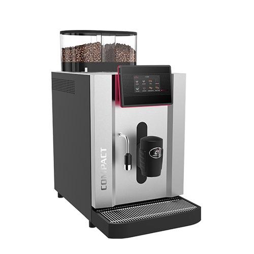 Rex Royal SCS Compact - Vollautomat für bis 140 Tassen pro StundeTouchscreen für bis zu zehn Produkte.Bezug von Doppelprodukten.Die hochwertige Brühgruppe mit einer Brühkammer, die bis zu 15.5 Gramm Kaffeepulver fasst, garantiert eine optimale Extraktion des Mahlgutes und gewährleistet somit hervorragende Kaffeequalität.Bis zu 175 mm Auslaufhöhe.Modularer Aufbau der Kaffeemaschine für kurze Interventions- und Wartungszeiten.Schweizer Qualität – Swiss Made.