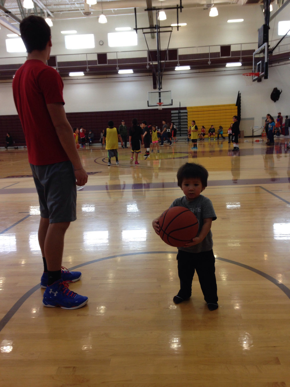 Here's Christian playing with one of the kids at the gym (one of our outreaches).  Normally kids this age aren't here but they were having a kids basketball tournament that day. Mostly it's college age people playing basketball, volleyball, or working out. Our purpose here is to just make friendships and show the Light here in a normal every day place.