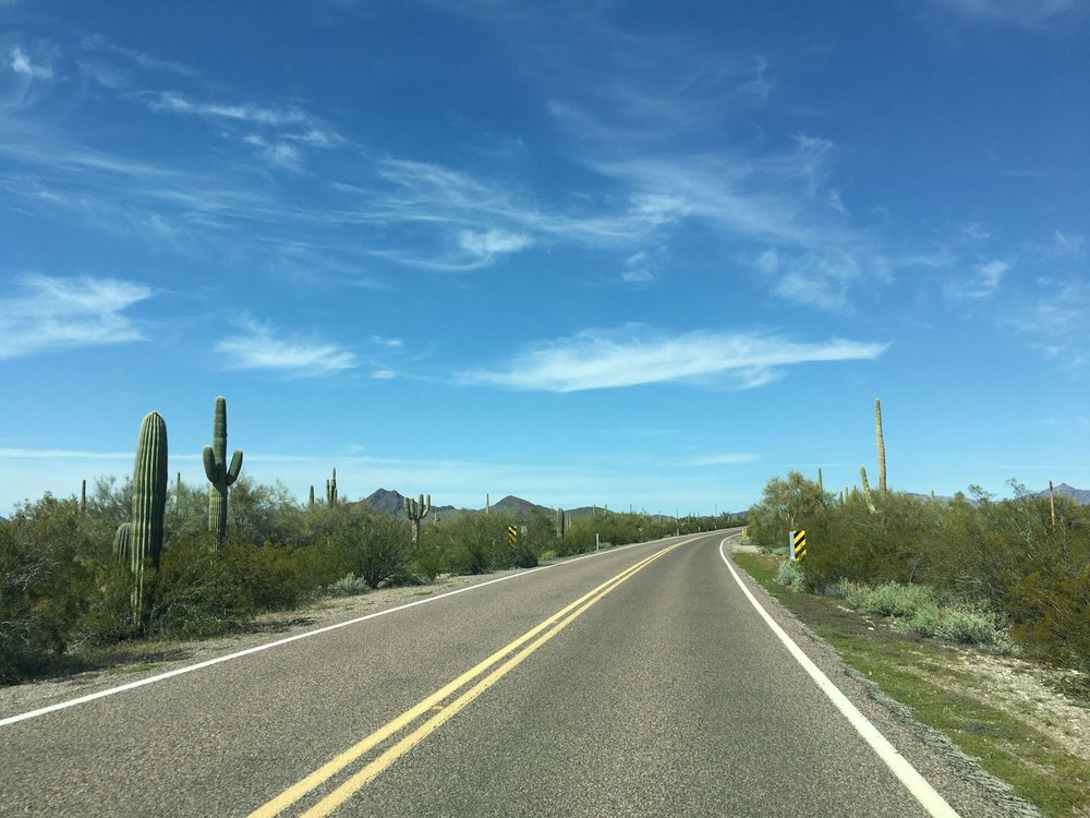 The road home from Mexico.