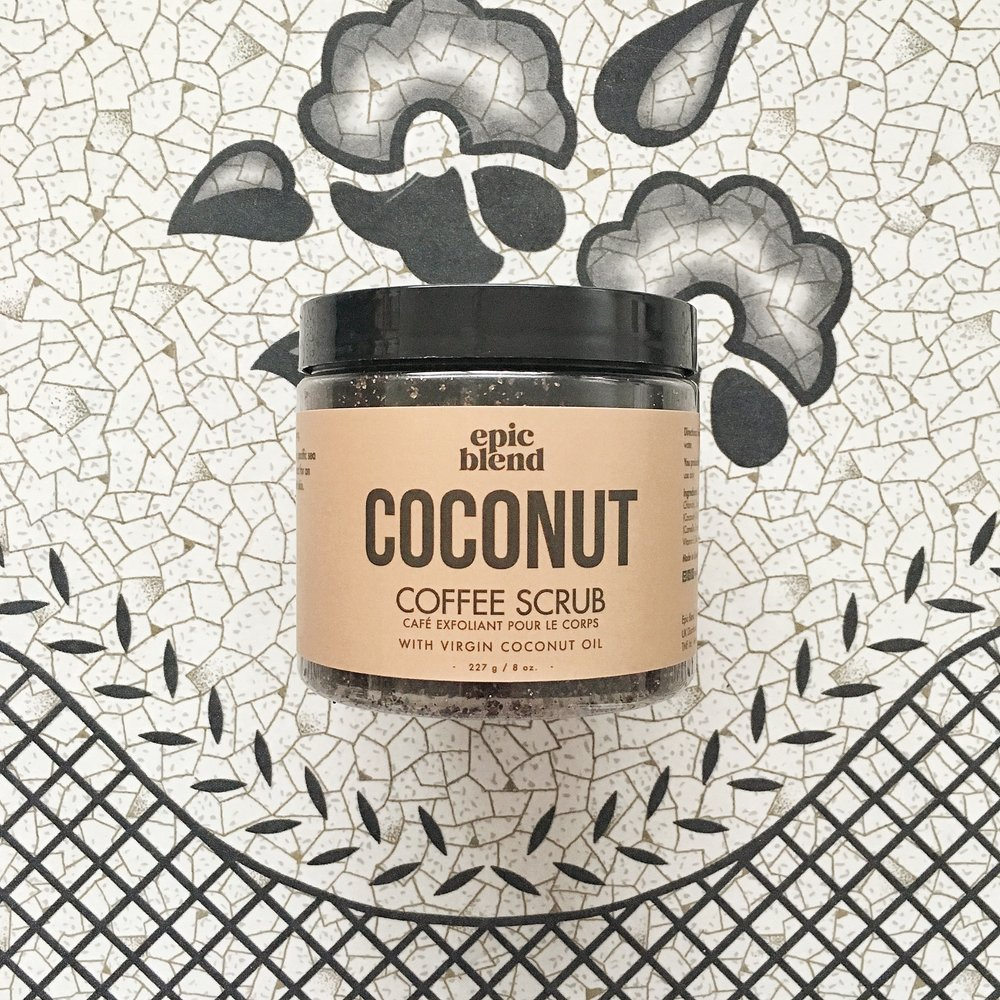 Epic Blend Coconut Coffee Scrub  - Perk up in the morning with this scrub made from ground Arabica coffee, demerara sugar, sea salt, coconut extract, and green tea extract. I loved the way it smoothed my skin without being too harsh and with the added coconut oil, I didn't feel like I needed to moisturize after. Caffeine-fix and time-saver? I'm in.