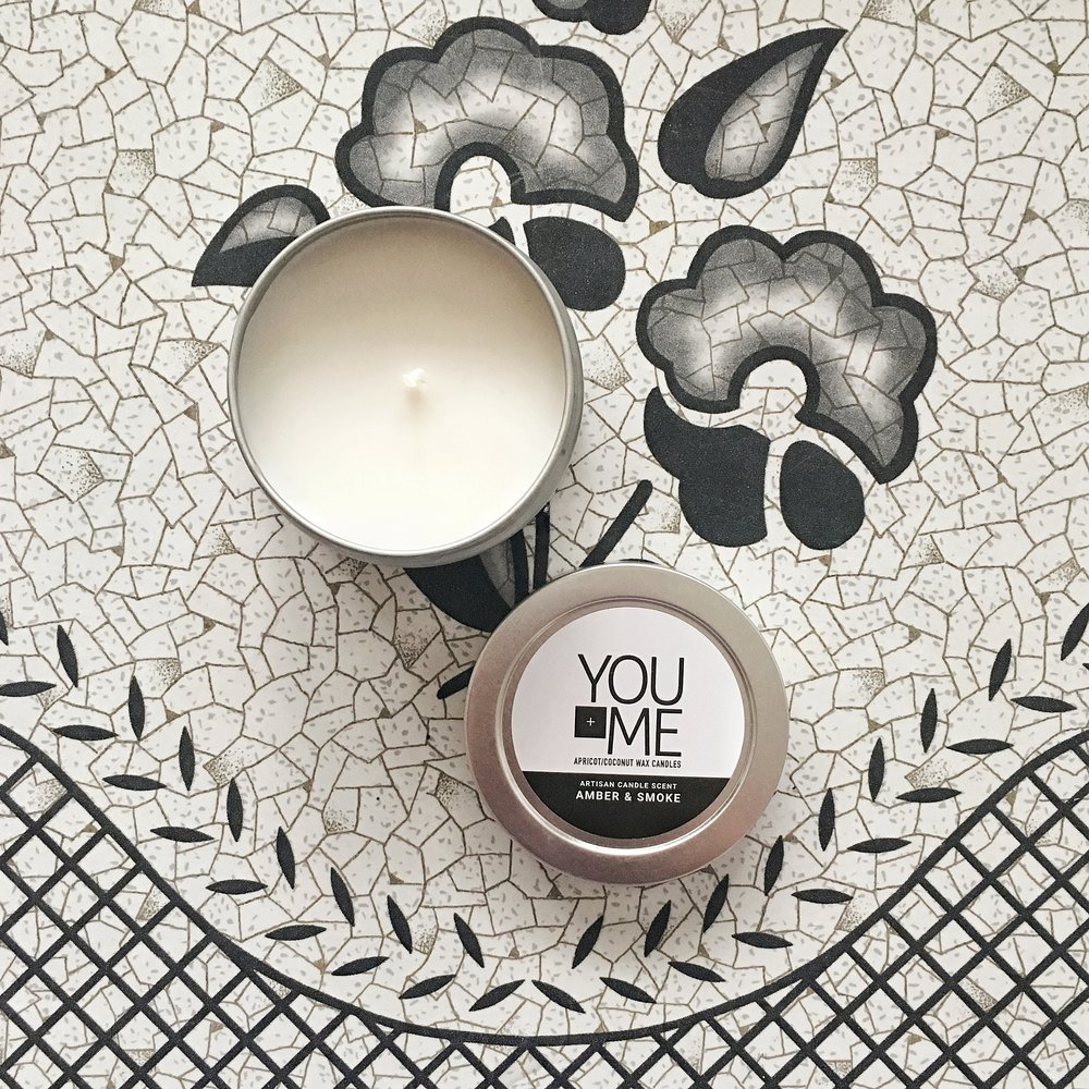 You+Me Amber and Smoke Candle  - This single-batch, hand-poured candle is a welcome companion to a chilly fall evening. Made from coconut and apricot wax, I adored the musky, warm scent as I relaxed while reading a book. The amber and smoke scent is accented by lemon, mandarin orange and a touch of lotus.