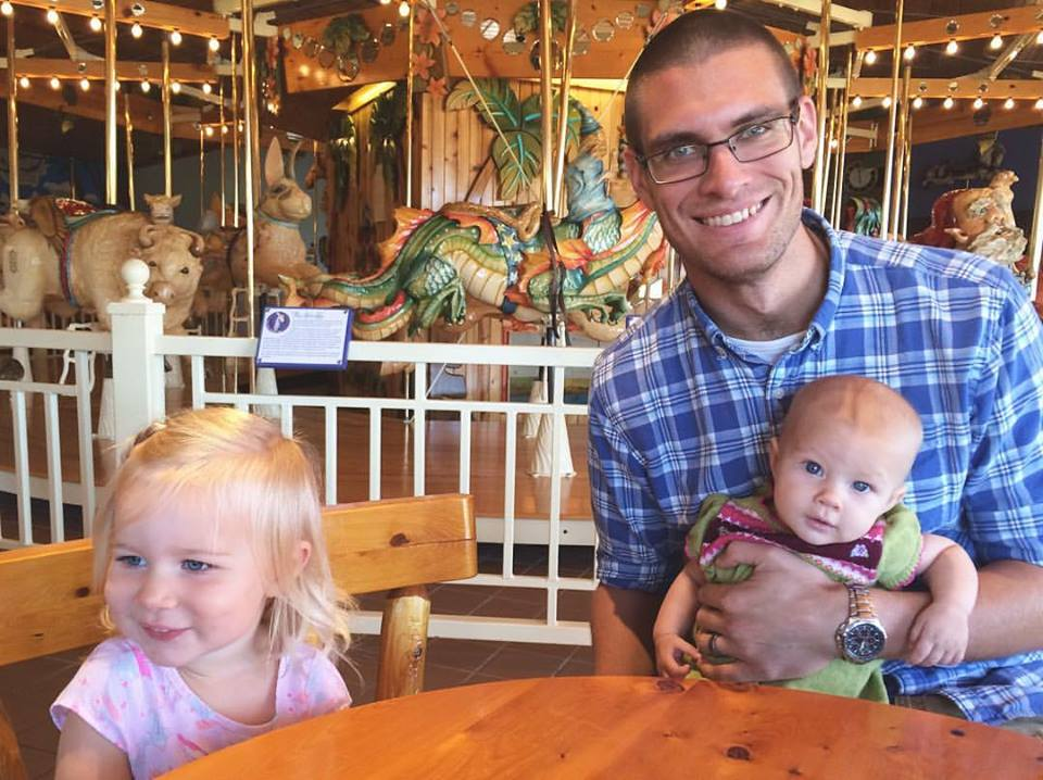 Paul with his daughters seven days after surgery.