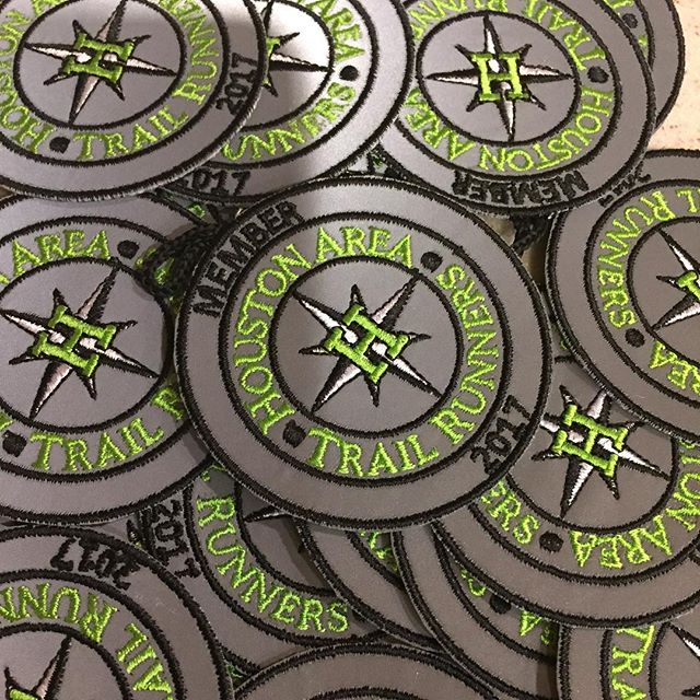 """Our 2017 Member patches arrived!  Watch your mailbox this week.  Not a """"Patch Member"""" yet? You can still join. Link in bio. #houstonrunning #trailrunning #trailrunners #runhouston #hatr #ultrarunning #ultrarunner #reflectivepatch #patchmember #running #runningclub"""