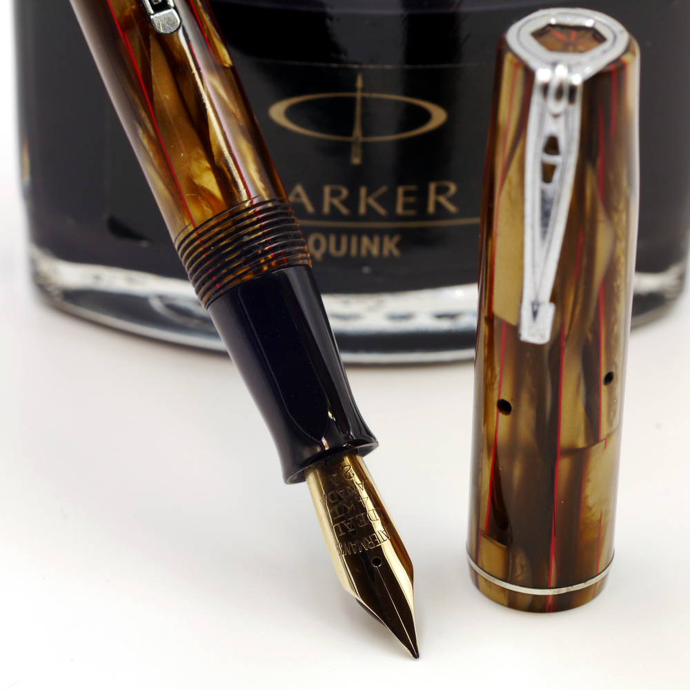 Waterman 301V in gorgeous brown, red-veined celluloid