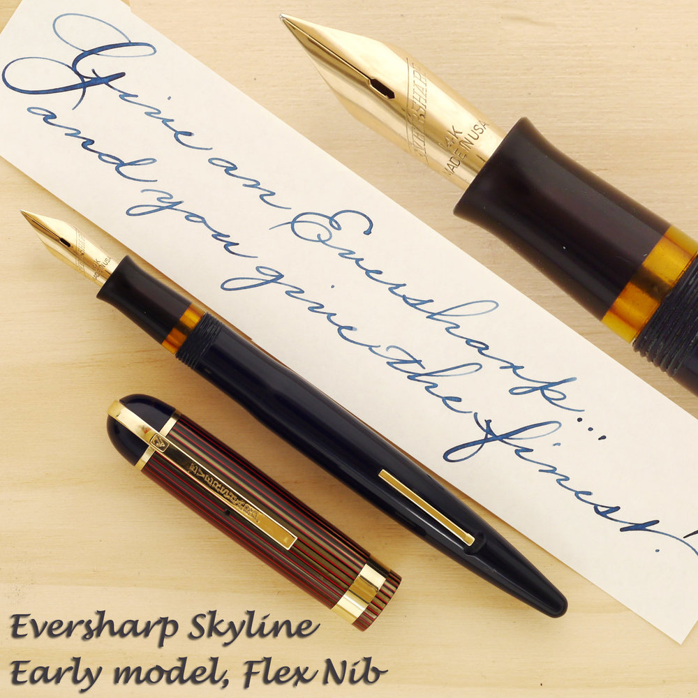 Eversharp Skyline in Navy Blue with a Red and Green celluloid cap, flex nib